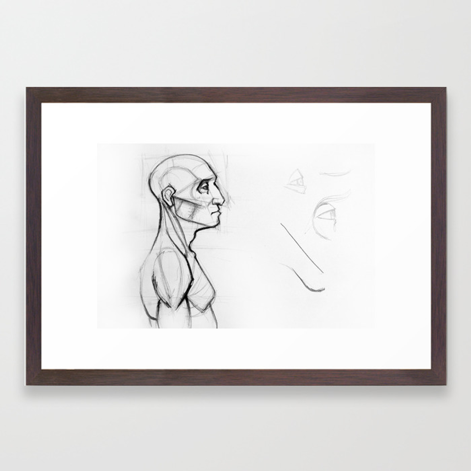 Outline Drawing Sketch Of Side Profile Of A Human Male Head And Torso Anatomy Illustration Framed Art Print By Oanaunciuleanu Society6