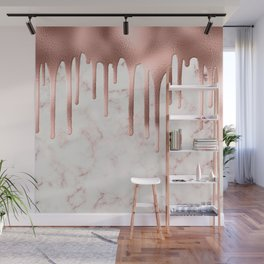 Rose Gold Marble Metallic Drips Wall Mural
