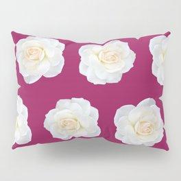 Cream Rose Polka Dot on Fuchsia Pillow Sham