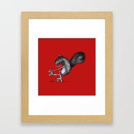 Ride On Squirrel_red Framed Art Print