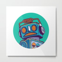 robot machine apocalypse cute mechanoid mechanical toy antena toon illustration cyborg child fiction Metal Print