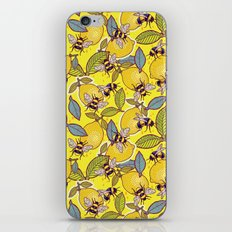 Yellow lemon and bee garden. iPhone Skin
