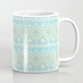 Vintage orange teal stylish cross stitch pattern Coffee Mug