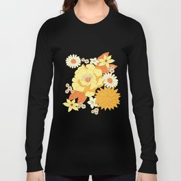 Yellow, Orange and Brown Vintage Floral Pattern Long Sleeve T-shirt