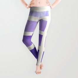 Purple Minimalist Mid Century Grid Pattern Staggered Square Matrix Watercolor Painting Leggings