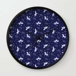 Unicorn Dreams Blue Wall Clock