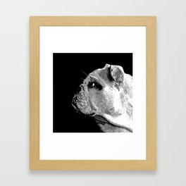 english bulldog dog vector art black white Framed Art Print