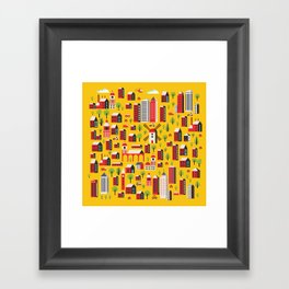 Urban background of buildings Framed Art Print