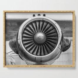 Vintage Airplane Turbine Engine Black and White Photography / black and white photographs Serving Tray