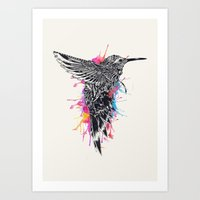 hummingbird Art Prints featuring HummingBird by efan