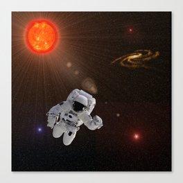 Astronaut Sun Stars Canvas Print
