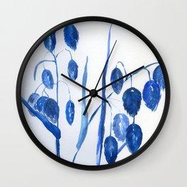 quaking grass in blue Wall Clock
