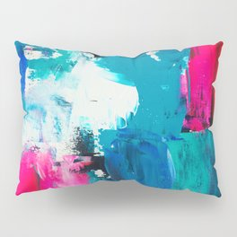 Look on the bright side | neon pink blue brushstrokes abstract acrylic painting Pillow Sham