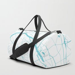 Paris France Minimal Street Map - Turquoise Blue and White Duffle Bag