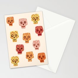 Dia de los Muertos Mexican Decorated Skull Art Stationery Cards