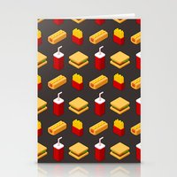junk food Stationery Cards featuring Isometric junk food pattern by Irmirx
