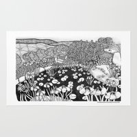 vermont Area & Throw Rugs featuring Zentangle Vermont Landscape Black and White Illustration by Vermont Greetings