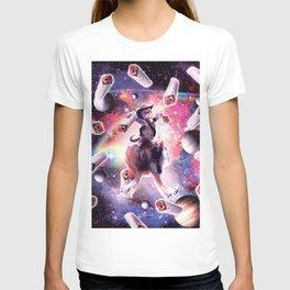 Cowboy Space Cat On Wolf Unicorn - Burrito T-shirt