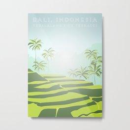 Tegalalang Rice Terraces, Bali, Indonesia Travel Poster Metal Print