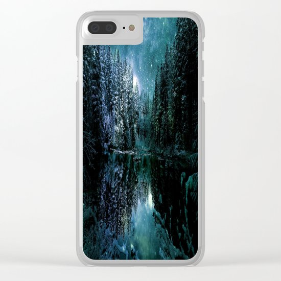 Winter Wonderland Forest Green Teal : A Cold Winter's Night Clear iPhone Case