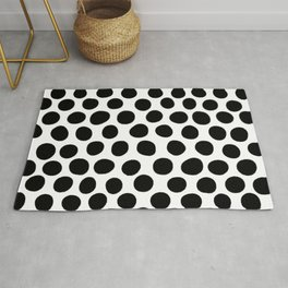 Black Hand Painted Spots on White Rug