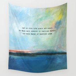 Abstract Ocean Painting and Colorful Sky with Poem Wall Tapestry