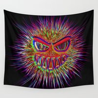 jojo Wall Tapestries featuring Jojo the little Monster by MehrFarbeimLeben