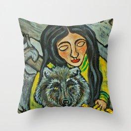 Driftwood Wolf * Nature Maiden Throw Pillow