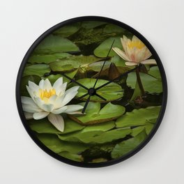 Lily Pads and Blossoms on a Michigan Pond Wall Clock