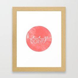 Keep Going Coral Circle Framed Art Print