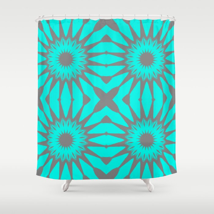 Turquoise Gray Pinwheel Flowers Shower Curtain By Vintageby2sweet Society6