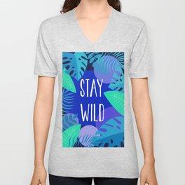 Stay Wild Blue Unisex V-Neck