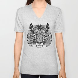 TIGER head. psychedelic / zentangle style Unisex V-Neck