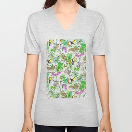 Rainforest Friends - watercolor animals on textured teal Unisex V-Neck
