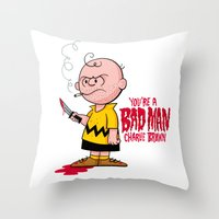 charlie brown Throw Pillows featuring You're a Bad Man Charlie Brown by Chris Piascik