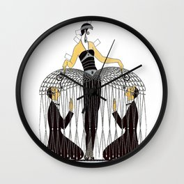 """Art Deco Design """"Improvised Cage"""" by Erté Wall Clock"""