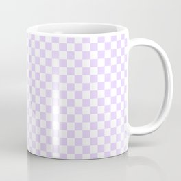Chalky Pale Lilac Pastel Color and White Checkerboard Coffee Mug