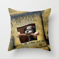 monkey island Throw Pillows featuring Monkey Island - WANTED! Spiffy, the Scumm Bar dog by Sberla