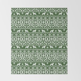 Cocker Spaniel fair isle christmas pattern dog breed holiday gifts green and white Throw Blanket