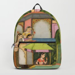 Krishna Approaches Radha - 17th Century Classical Hindu Art Backpack