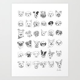 Dogs of the neighbourhood   a collection of portraits Art Print