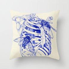 collarbone blue Throw Pillow