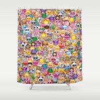 emoji Shower Curtains featuring emoji / emoticons by Marta Olga Klara
