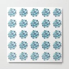 blue succulent pattern Metal Print