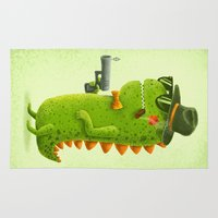 dino Area & Throw Rugs featuring Dino bandito by Lime