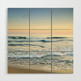 Serenity sea. Vintage. Square format Wood Wall Art