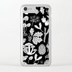 Linocut minimal botanical boho feathers nature inspired scandi black and white art Clear iPhone Case