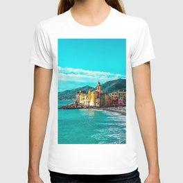 Liguria Italy Camogli beaches Hill Bay Houses Cities Beach Building T-shirt