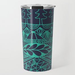 Mountain Tapestry in Midnight Teal Travel Mug