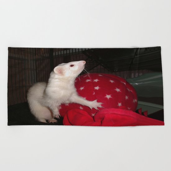 The Ivory Ferret and the Starry Red Bouncy House Beach Towel